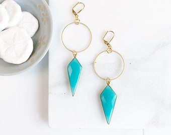 Statement Earrings with Blue Chalcedony Shield and Hoops. Long Stone Earrings. Gold Statement Earrings. Jewelry Gift.
