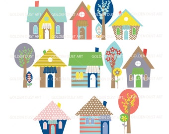 Houses Clip Art Set, Spring Houses Clip Art set, Cute Houses, Houses, Trees, Flowers, Instant Download, Spring Colors