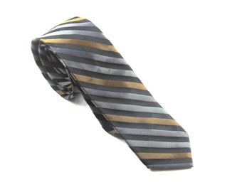 Mens Vintage Neck Tie By Superba Grey Brown Black Stripes Dacron Madmen Skinny Circa 1950 - 1960