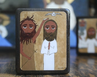 2.5 ish X 3.5 ish inch Baptism of Jesus byzantine/folk icon on wood