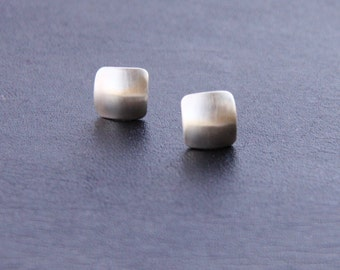 "Tiny silver earrings with a modern square shape domed for a more contemporary appearance - ""Petite Squares Earrings"""