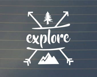 DECAL | Explore | Vinyl Decal, Car Decal, Laptop Decal, Laptop Sticker, Hiking Decal, Water Bottle Decal, Phone Decal, Bumper Sticker