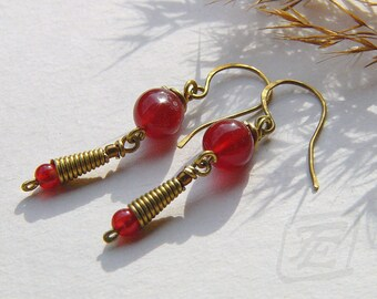 Brass Dangle Earrings with red Carnelian. Wire wrapped. Semiprecious Stones.Holiday gift