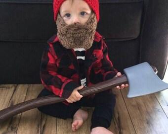 Lumberjack First Birthday, Lumberjack Nursery, Lumberjack Baby Shower, Wild One Birthday Boy, Baby Bear Outfit, Baby Beard Beanie Hat