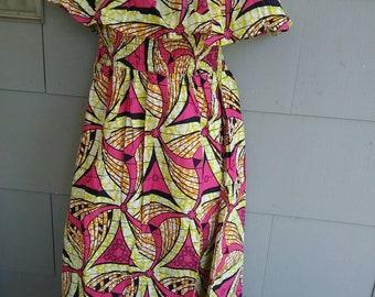 Off Shoulder AnKara Print Bandeau Elastic Waist/Women's Dress Sundress 1 Sz (S-XL) Hippie boho Peasant Spring Summer Beach wear Afrocentric