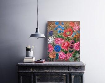 "Original floral painting, 16"" X 20"", Abstract Flowers art, Whimsical art, Bohemian decor, Office wall art, Canvas painting, Farmhouse decor"