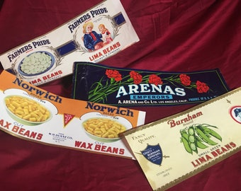 Vintage Mid Century Paper Can & Crate Labels