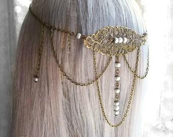 White Pearl Medieval Headpiece, Bridal Headpiece, Wedding Headdress, Medieval Wedding, Renaissance Circlet, Filigree Crown, Bronze Headpiece