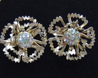 On sale Pretty Vintage Rhinestone, Gold tone Floral Clip Earrings, Sarah Coventry