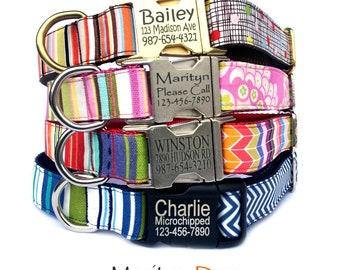 Personalized dog collar Laser engraved buckle dog ID tag dog collar Blue red pink twin stripe chevron polka dots floral pet collar boy girl