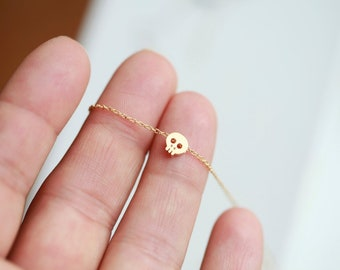Tiny gold skull necklace - Small skull necklace
