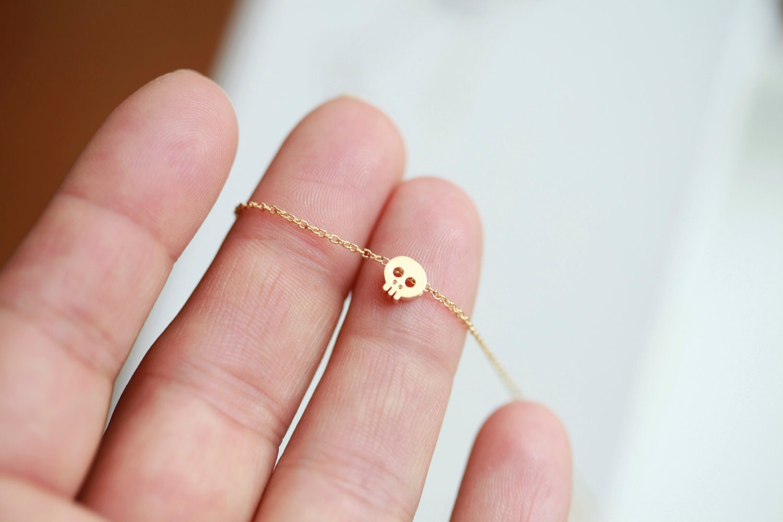 Tiny gold skull necklace GOLD Small skull necklace