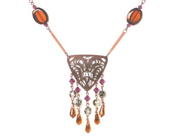 Copper Filigree Beaded Necklace and Earring set LAST ONE