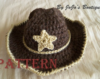 Baby Cowboy Hat  with Star PATTERN -Baby Cowboy Hat - Western Hat Pattern - Crochet cowboy Hat with Star Pattern -Cowboy -by JoJosBootique