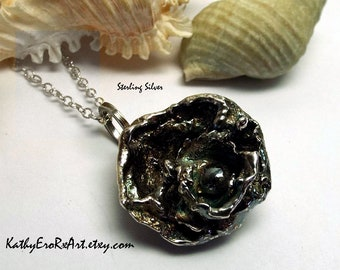 """Necklace  """"Abstract Water Cast I""""  Solid Sterling Silver"""