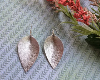 Silver petal leather earrings, metallic silver leather inverted teardrop earrings, silver leather earrings