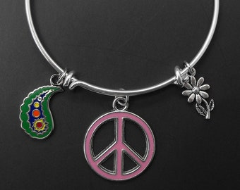 Peace Sign Bracelet Adjustable Stackable Bangle Paisley Floral Flower Power Retro Sixties Hippie Style Jewelry