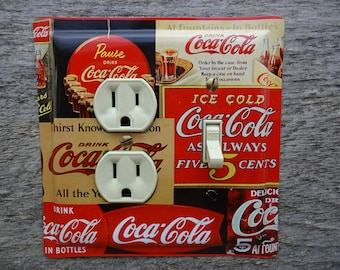 Coke Lighting Light Fixture Switch Plate Cover Combination Switches For Diner Kitchen Decor Made From A Vintage Coca Cola Tin OLC-1158C-R