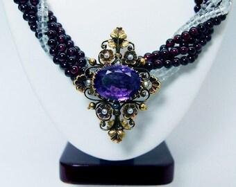 Garnet Aquamarine Amethyst Filigree Necklace w/Enhancer 14K Gold Estate Jewelry
