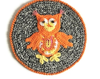 "Owl Pot Holder, Cotton Crochet Orange Owl Hotpad, 10"" Round Owl Potholder, Thick Table Centerpiece Colorful Trivet"