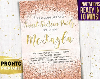 Sweet 16 Invitation, Sweet sixteen invitations, Sweet 16 birthday invitations, Sweet 16 invite, Sweet 16 party invites, 16th, pink and gold