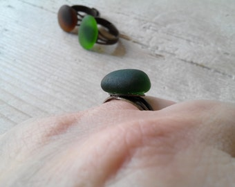 MERMAID's Tear RING - Organic dark green sea Glass Adjustable Ring with Genuine Natural Amalfi Sea Glass /nr96