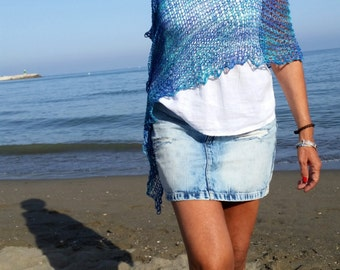 Turquoise knit poncho for women, cotton dress top, beach cover up, t,urquoise top, women's poncho, natural fibers