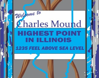 Charles Mound, Illinois - High Point Sticker
