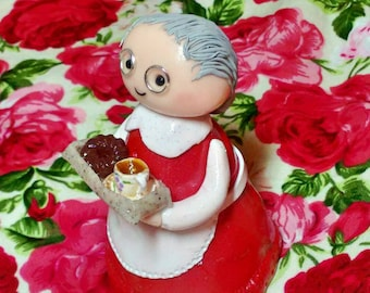 Custom Polymer clay grandmother cake topper/ home decoration