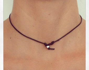 Necklace Simple 01 Silver Leather Handmade - Brown (N401SV-LBN)