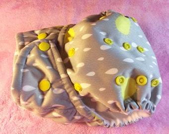 SassyCloth one size pocket diaper with hello sunshine PUL print. Made to order.