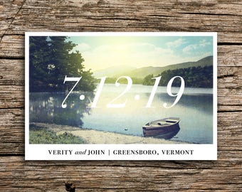 Vintage Lake Save the Date Postcard // Vermont Wedding Outdoor Save the Date Boat Canoe Wedding New Hampshire New York Minnesota Wisconsin