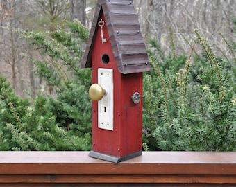 "Red Rustic Birdhouse ~ ""The Loft"" - Unique Birdhouse - Wooden Birdhouse - Outdoor Birdhouse - Painted Birdhouse - Rebecca's Bird Gardens"