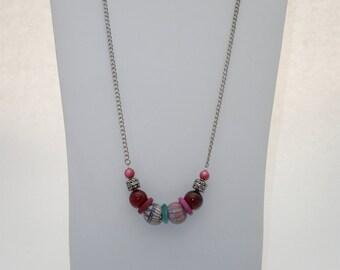 Magenta Glass Bead Necklace