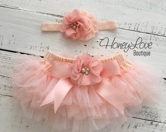 SET Peach tutu skirt bloomers diaper cover, rhinestone chiffon flower headband bow, ruffles around, newborn infant toddler little baby girl