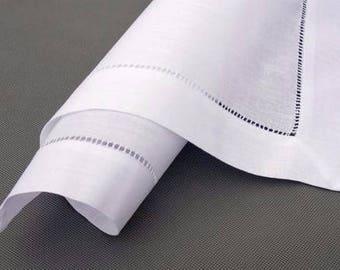 Hemstitch linen/cotton white napkin