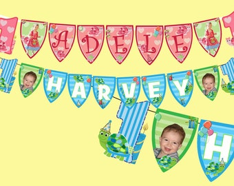 BOYS & GIRLS turtle party bunting pink or blue photo personalised any age and name