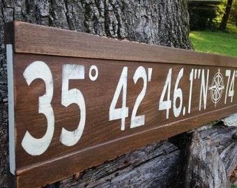 Personalized latitude longitude sign/custom longitude latitude wood sign/nautical coordinates sign/gps coordinates sign/stained latitude