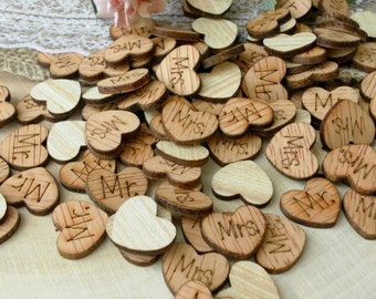 "100 1"" ""Mr."" & ""Mrs."" Hearts ~ Cute Little Wooden Hearts Rustic Table Confetti ~ Summer Wedding ~ Spring Wedding Decoration ~ Table Confetti"