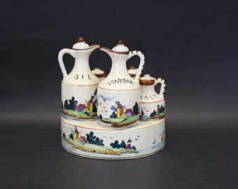 Vintage Fred Roberts Co Ceramic Lighthouse Condiment Set in Caddy (E7543)