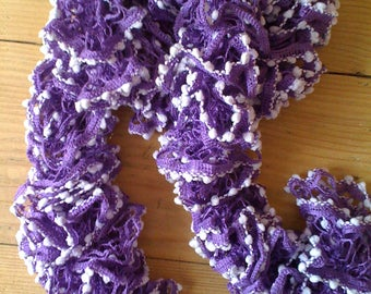 """Scarf frou-frou """"Spectra"""" purple with small ponpons parmes"""