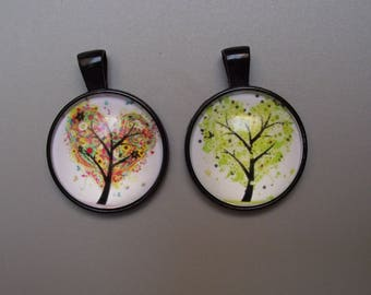 Set of 2 black pendants + tree of life 25 mm glass cabochons.