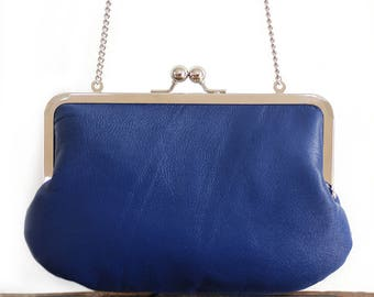 Leather clutch bag, royal navy blue purse, silk-lined, handbag with chain handle