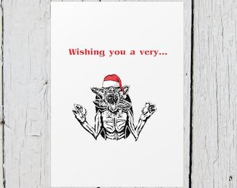 Demogorgon Merry Christmas Card (stranger things, xmas, holiday card)