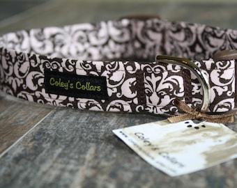 "Dog Collar ""Chocolate Covered Damask"""