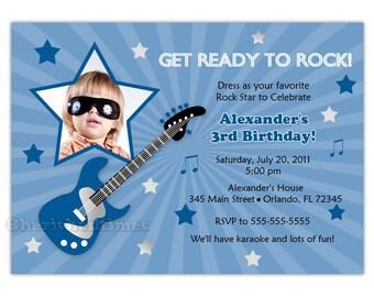 Rock Star Boy Birthday Party Invitation (Digital File)