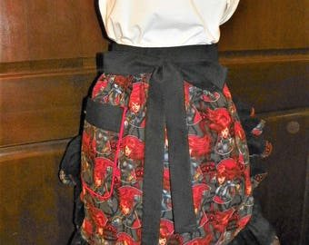 Powerful, Vivid Color, Sassy Hostess Waist Apron 24 In Marvel Action Black Widow by Nanasaprons Handmade for Fun Cooking Baking Activities