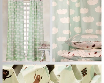 Mint Green Teddy in the Clouds Pillow Covers