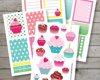 Printable Cup Cake Planner Stickers - Erin Condren - Check Box Stickers - Cup Cakes  Printable Planner Stickers