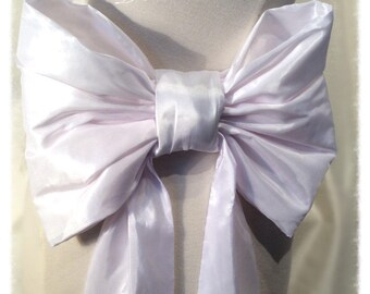 Large White Bright Shiny Taffeta Bridal Bow Bridal Belt / Sash